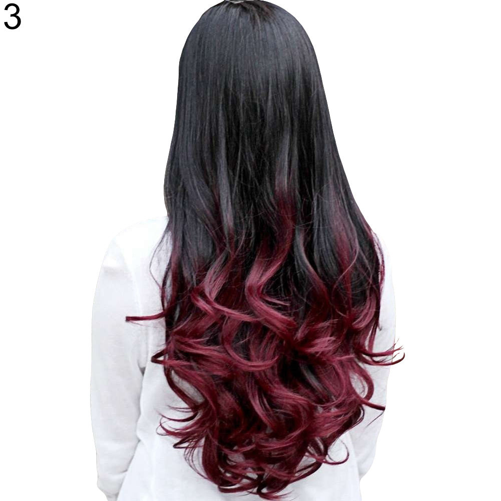 Women Big Wave Long Curly Wavy Gradient Color Ombre Three-forth Full Hair Wig