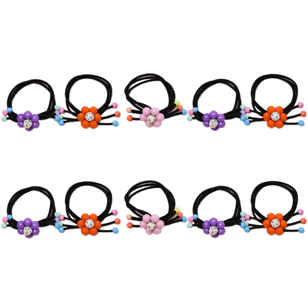 Cute Cartoon Flower Beads Elastic Hair Rope Ring Kids Girls Ponytail Holder