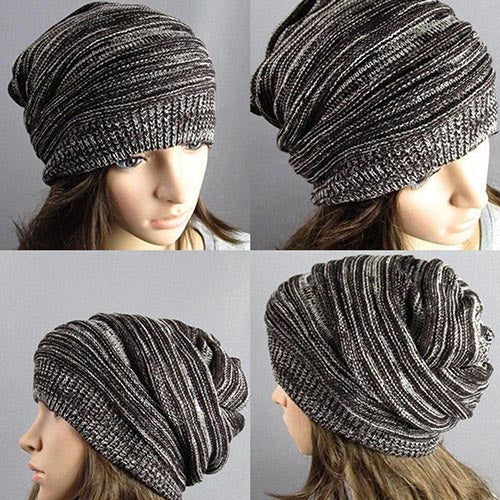 Unisex Winter Marbled Warm Baggy Beanie Knit Crochet Oversized Hat Slouch Cap