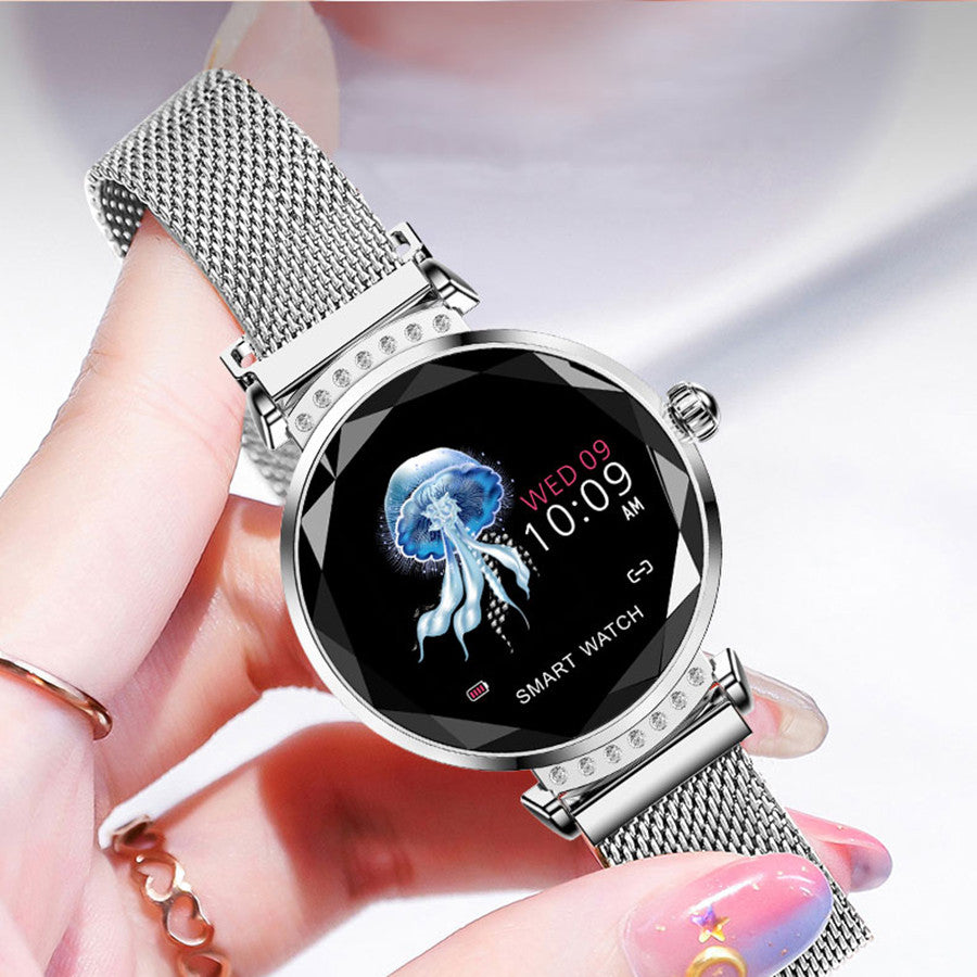 Smart Watch Fashion Women 3D Diamond Glass Heart Rate Blood Pressure Sleep Monitor Smartwatch Best Gift