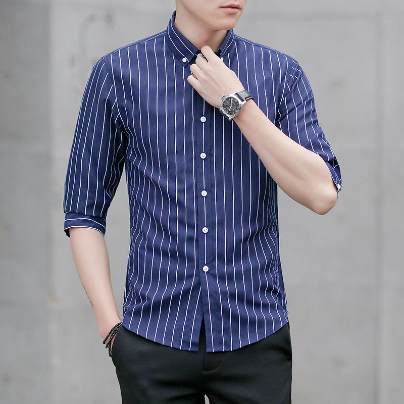 Main Stripes Casual Seven Point Sleeves Shirts