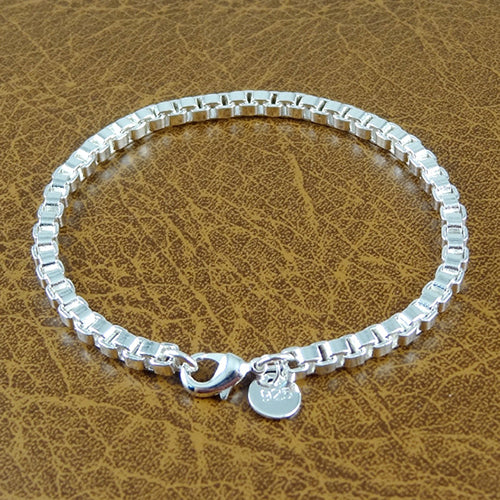 Unisex Fashion Simple Silver Plated Box Chain Bracelet Bangle Charm Jewelry