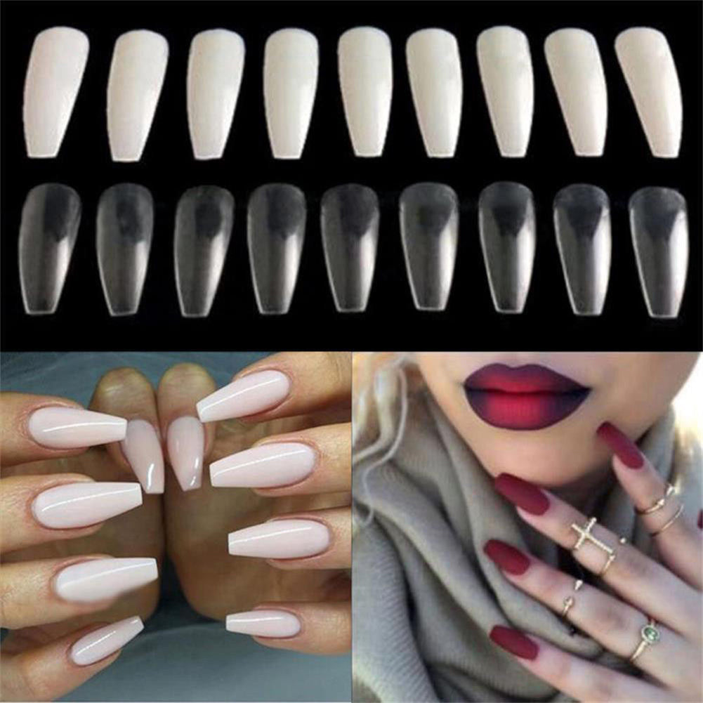 1 Box Ballerina Long Fake Nail Art Tips Coffin Shape Full Cover DIY False Nails