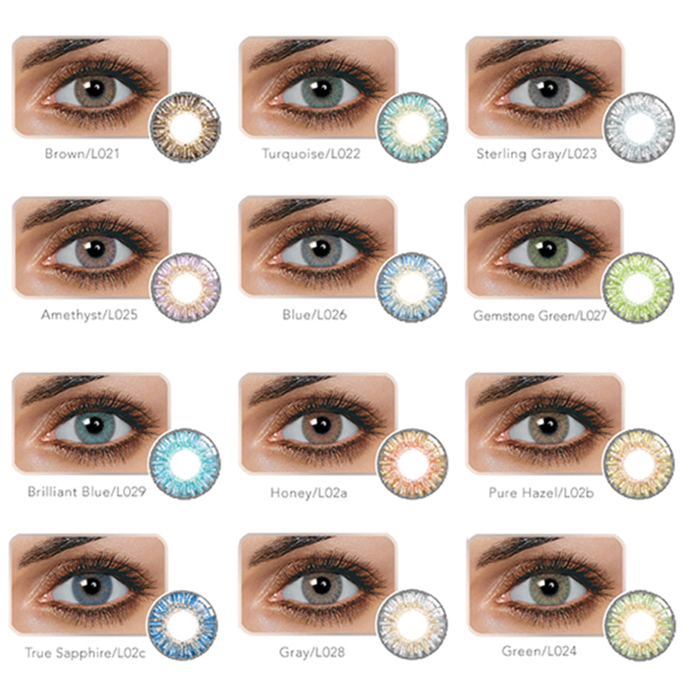 1Pair 14.5mm DIA Unisex Fashion Blue Green Honey Brown Gray Colour Contact Lens