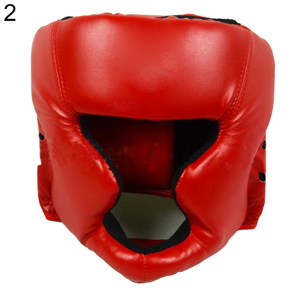 Faux Leather Boxing Martial Arts MMA Helmet Head Guard Headgear Head Protection