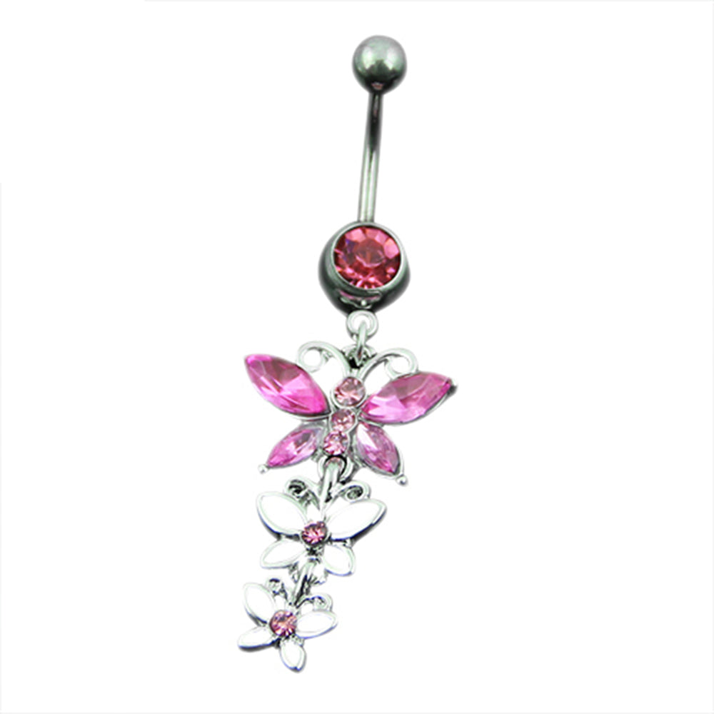Three Butterflies Pendant Button Barbell Bar Belly Navel Ring Body Piercing Jewelry