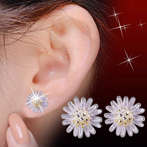 Lady's Cute Sunflower 925 Sterling Silver Ear Studs Daisy Earrings Jewelry Gift