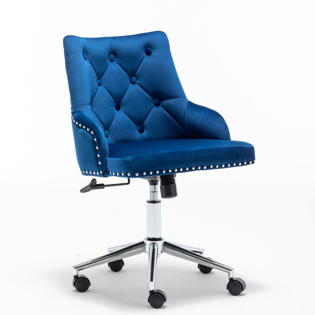 Modern Mid-Back Tufted Velvet Fabric Computer Desk Chair