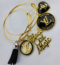 Load image into Gallery viewer, Designer Charm Bracelet - Black & Gold