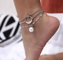 Load image into Gallery viewer, Moon, Star & Pearl Anklet