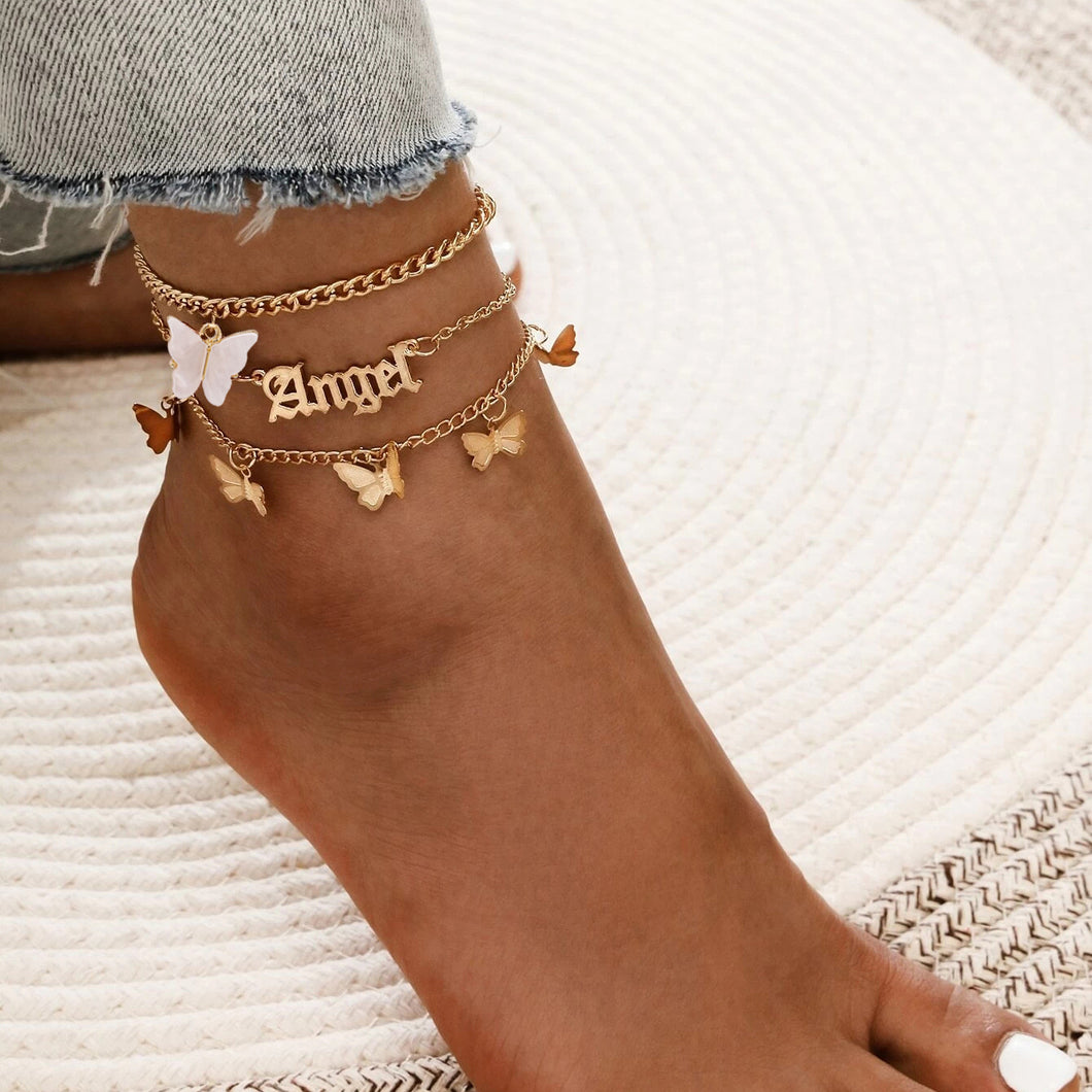 Butterfly Angel Anklet Set