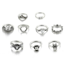 Load image into Gallery viewer, Crown Crystal Ring Set