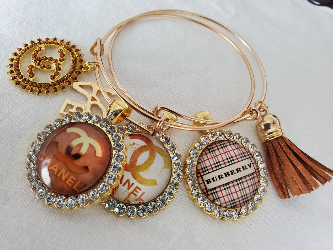 Designer Charm Bracelet - Brown & Gold Chanel & Burberry
