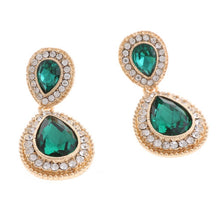 Load image into Gallery viewer, Emerald Crystal Earrings