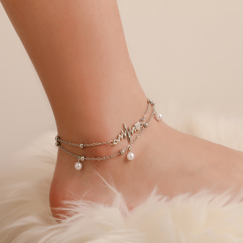 Heart Waves & Pearl Anklet