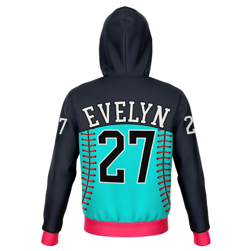 Customized Softball Queen Hoodie (Dark Grayish Blue/ Cyan/ Pink)