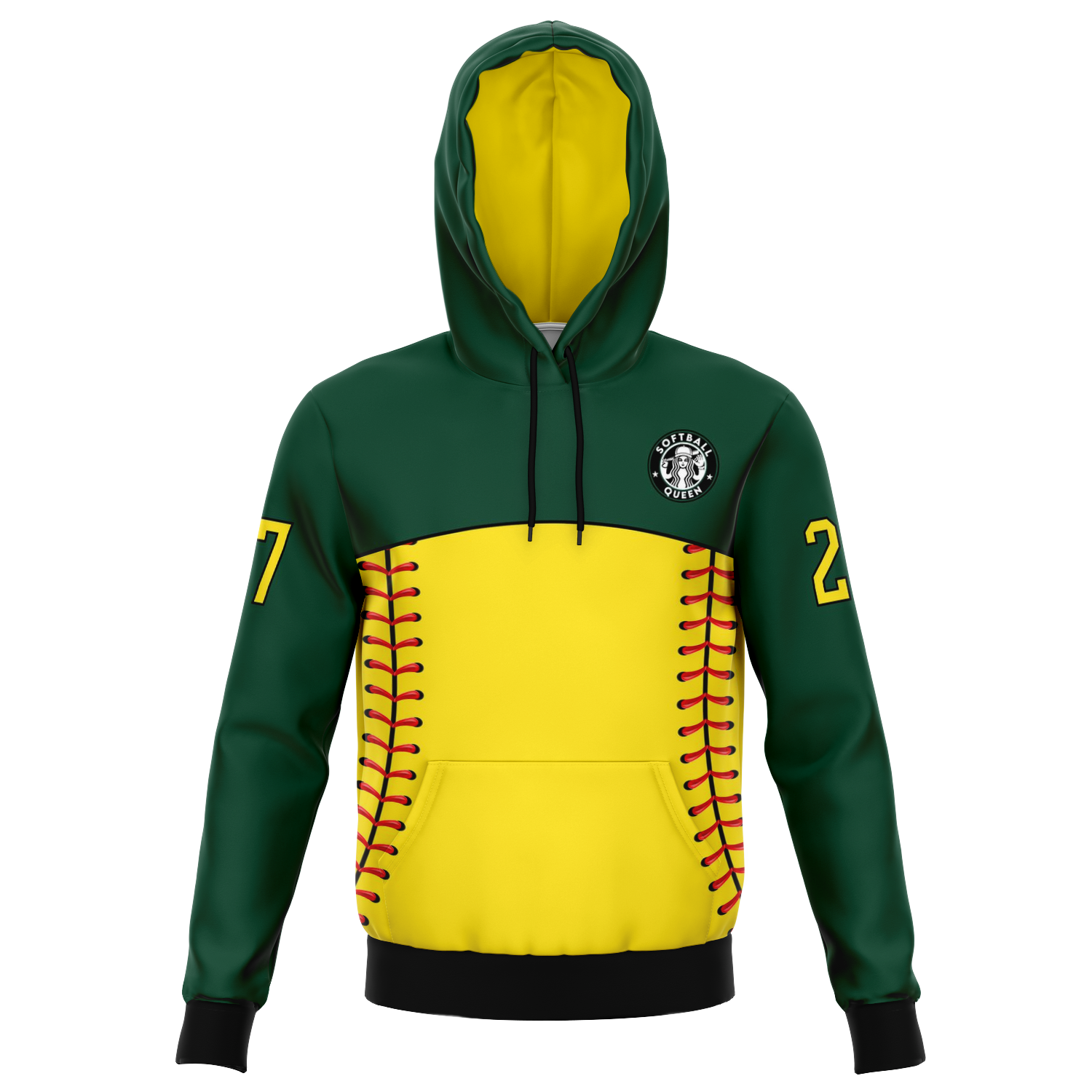 Customized Softball Queen Hoodie (Dark Green/ Yellow)