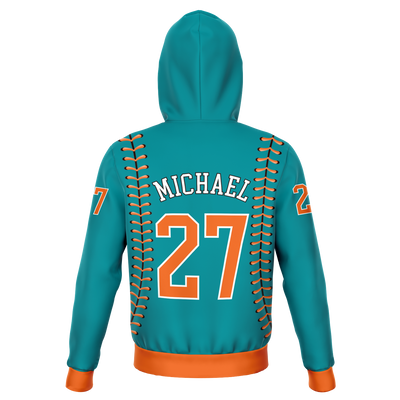 CLASSIC SERIES HOODIE (DARK CYAN/ ORANGE)