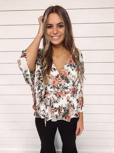 Grace Floral Wrap Blouse - Ivory