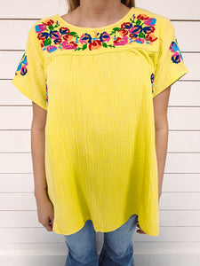 Georgia Embroidered Top - Lime