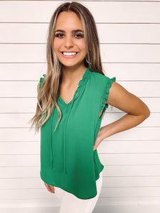 Sadie Green Split Neckline Top