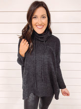 Load image into Gallery viewer, Noelle Cowl Neck Tunic Top - Charcoal