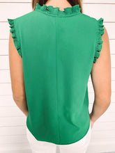 Load image into Gallery viewer, Sadie Green Split Neckline Top