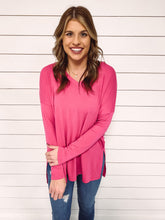 Load image into Gallery viewer, Carly V Neck Top - Hot Pink