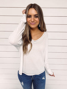 Charlie Waffle Knit Top - White