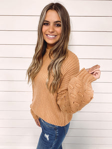Julie Lantern Sleeve Sweater - Camel