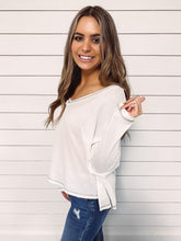 Load image into Gallery viewer, Charlie Waffle Knit Top - White