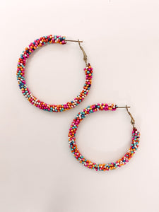 Bright Multicolor Beaded Hoops