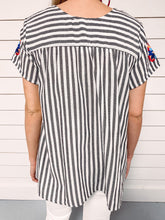Load image into Gallery viewer, Georgia Embroidered Top - Grey Stripe