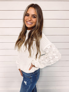 Julie Lantern Sleeve Sweater - White