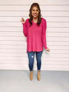 Carly V Neck Top - Hot Pink