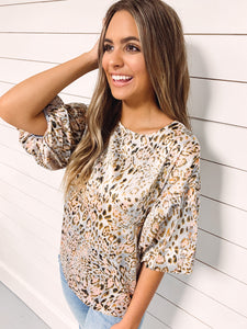 Hazel Animal Print Puff Sleeve Top