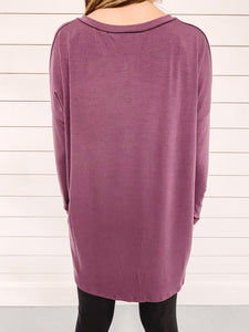 Carly V Neck Top - Eggplant