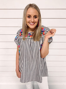 Georgia Embroidered Top - Grey Stripe