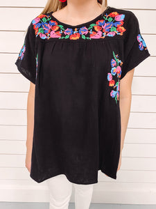 Georgia Embroidered Top - Black