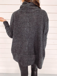 Noelle Cowl Neck Tunic Top - Charcoal
