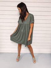 Load image into Gallery viewer, Callie Everyday Babydoll Dress - Olive