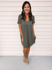Callie Everyday Babydoll Dress - Olive