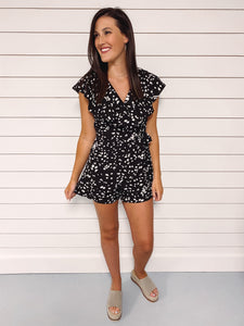 Marley Printed Ruffled Romper - Black