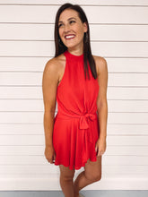 Load image into Gallery viewer, Gabrielle Tie Front Romper - Red