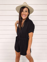 Load image into Gallery viewer, Charlie Black Short Sleeve Romper