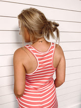 Load image into Gallery viewer, Libby Stripe Tank Romper - Coral