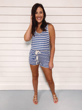 Load image into Gallery viewer, Libby Stripe Tank Romper - Blue