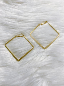 Brushed Gold Square Hoops