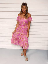Load image into Gallery viewer, Island Time Pink Floral Midi Dress
