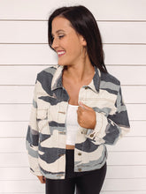 Load image into Gallery viewer, Myra Faded Camo Denim Jacket